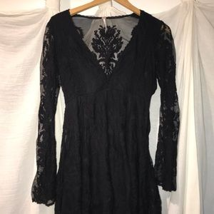 Black free people lace long sleeve dress